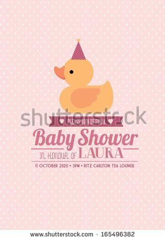 Rubber Ducky Baby Shower Invitation Card Template Girl Vector Illustration