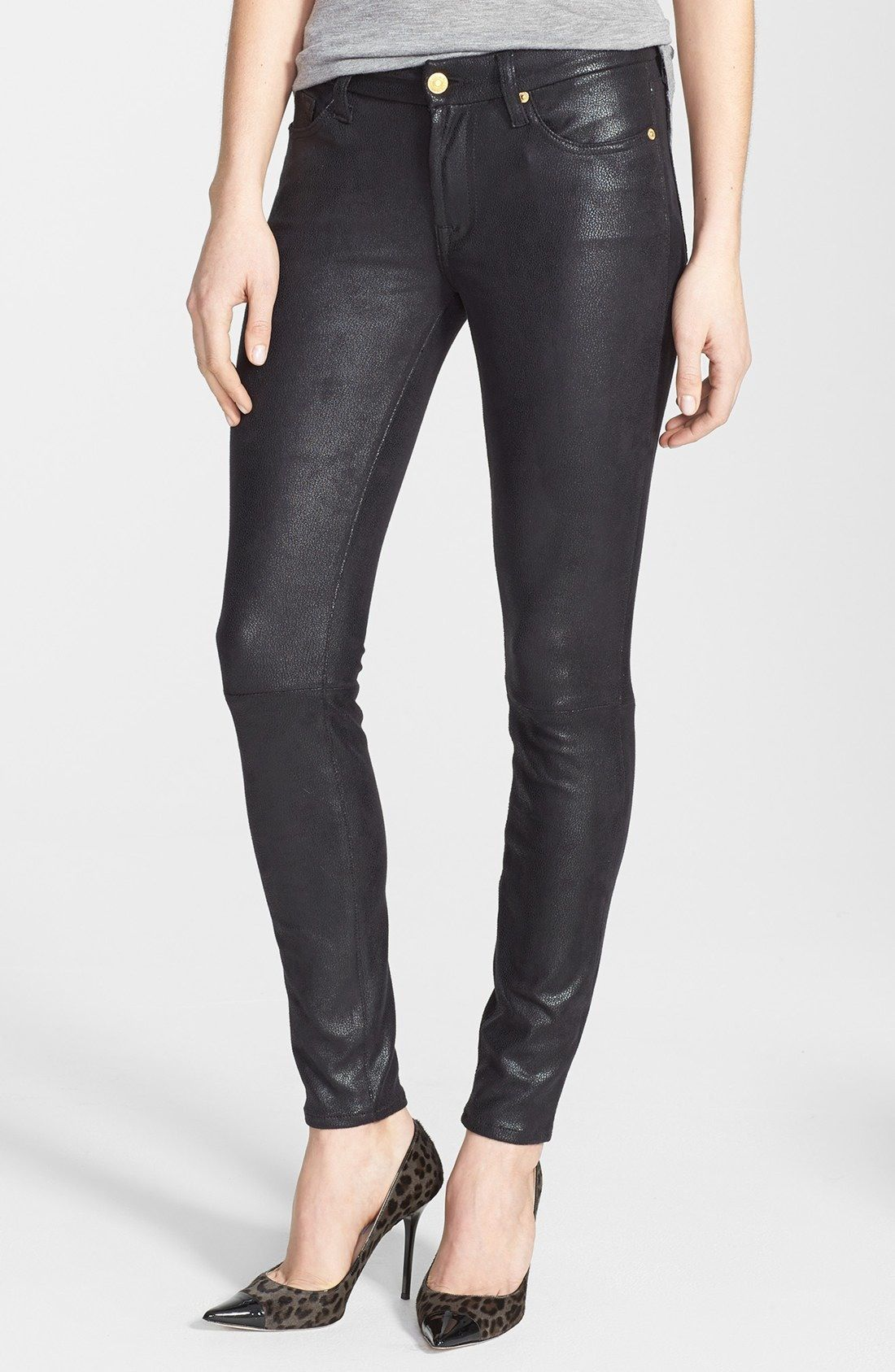 7 For All Mankind The Skinny High Rise Faux Leather Skinny