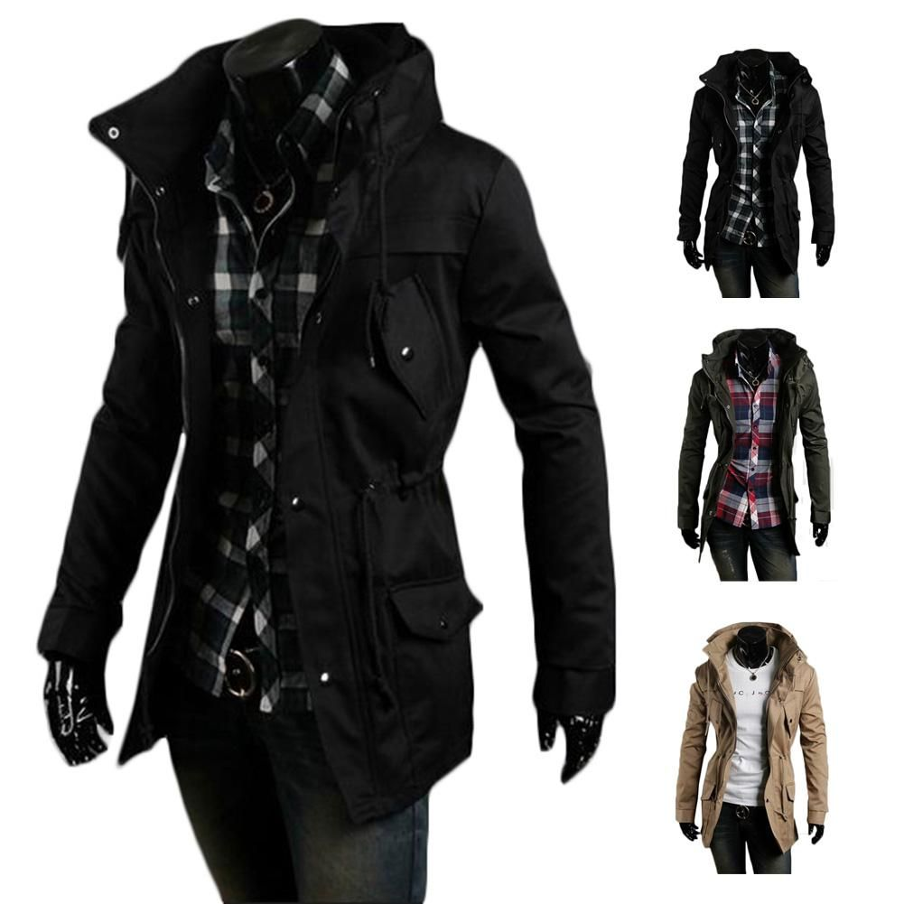 S5Q Men Vintage Military Coat Long Slim Trench Jackets Warm Winter ...