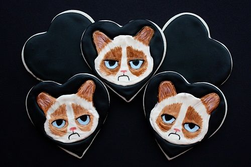 grumpy cat valentines day cookies by not your mommas cookie - Grumpy Cat Valentine