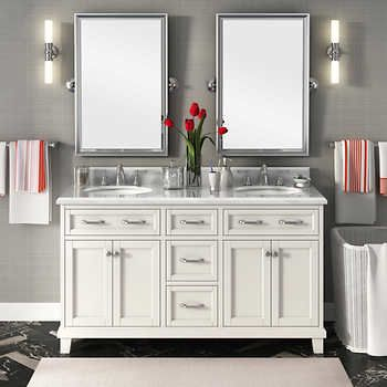 Casanova 60 Quot Antique Gray Double Sink Vanity By Lanza Double Vanity Bathroom Double Sink Vanity Bathroom Vanity