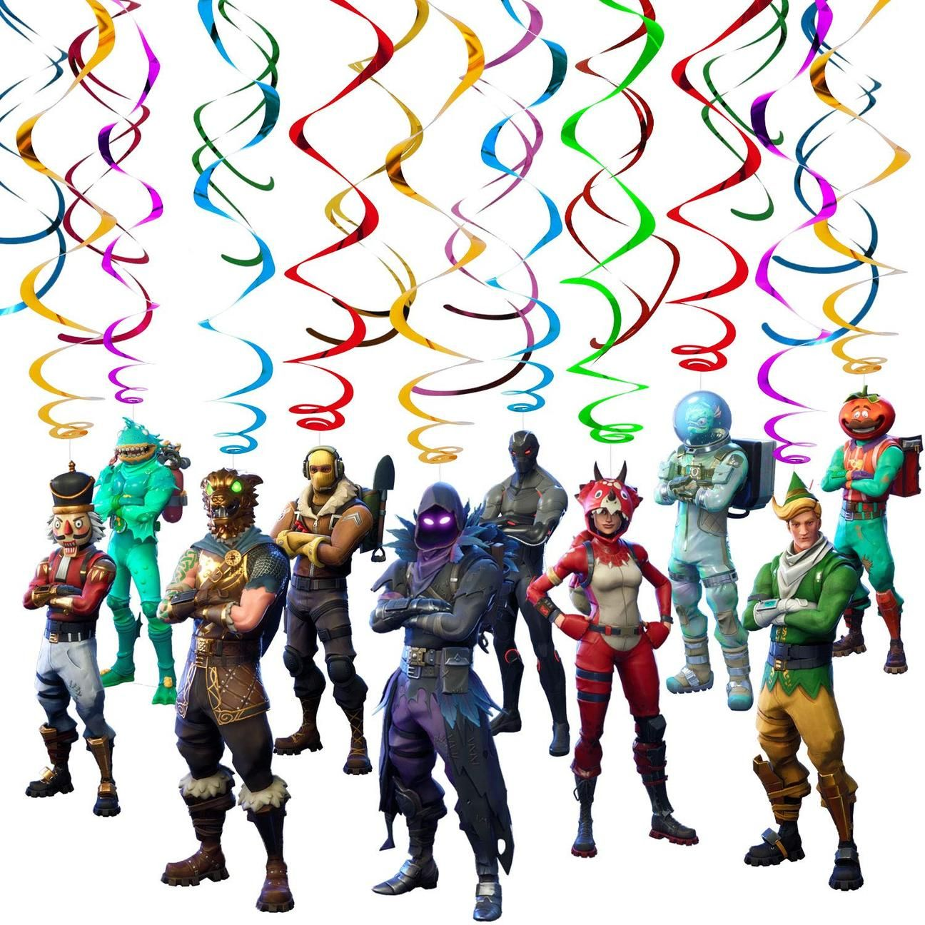 Fortnite Game Theme Characters Party Supplies Swirls with Cutouts