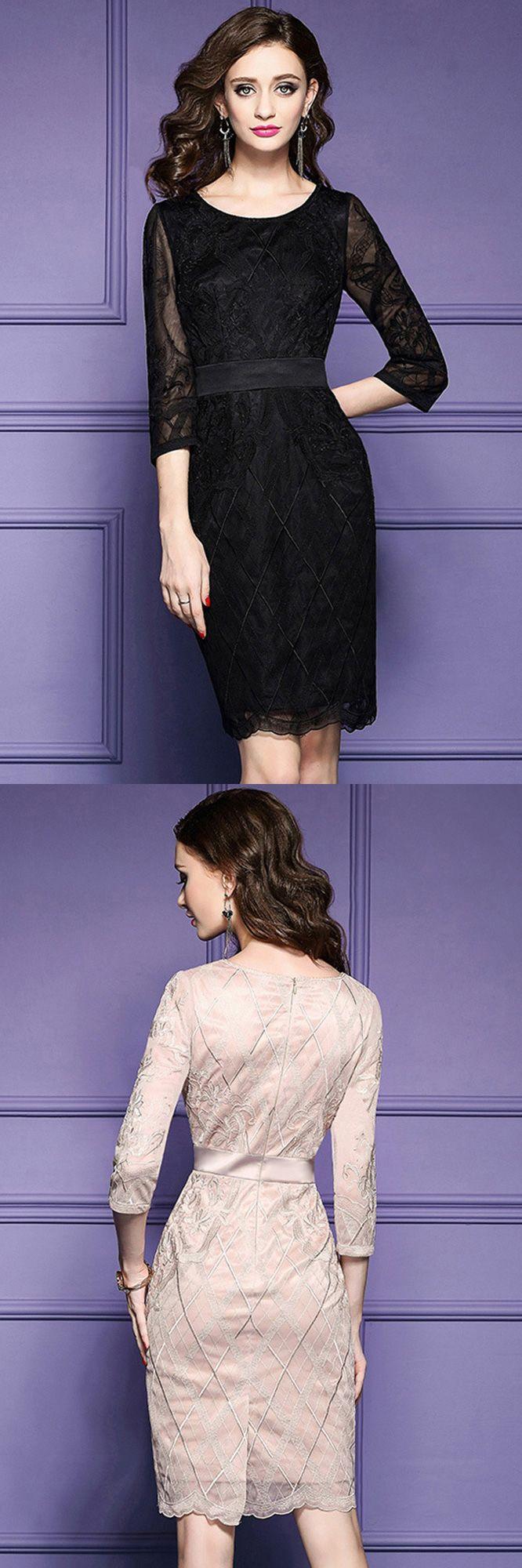 Wedding guest dress ideas  Luxe Black Lace Sleeve Short Wedding Guest Dress Black Tie For