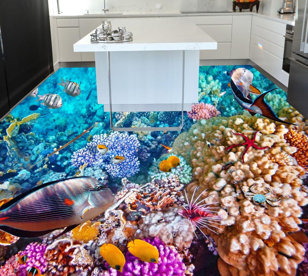 3d epoxy flooring for kitchen coral reefs theme Epoxy