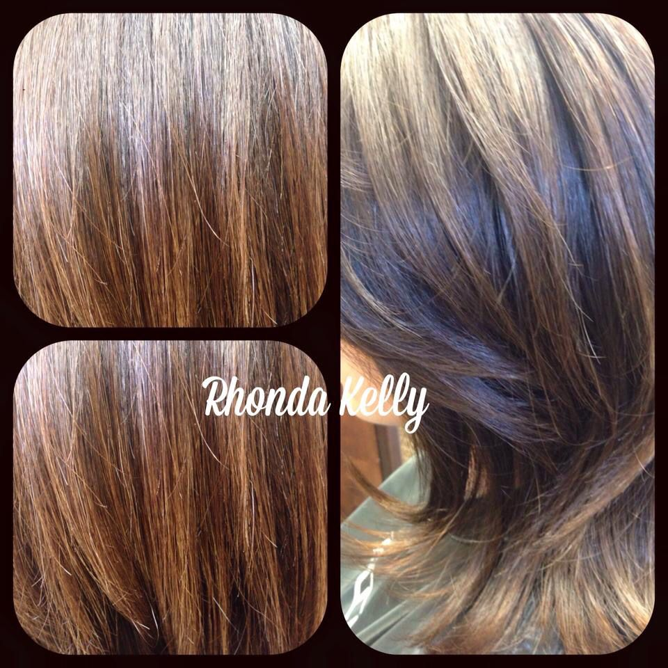 Beautiful chocolate hair color using paul mitchell the color and a medium round brush blow out using Paul Mitchell Marula