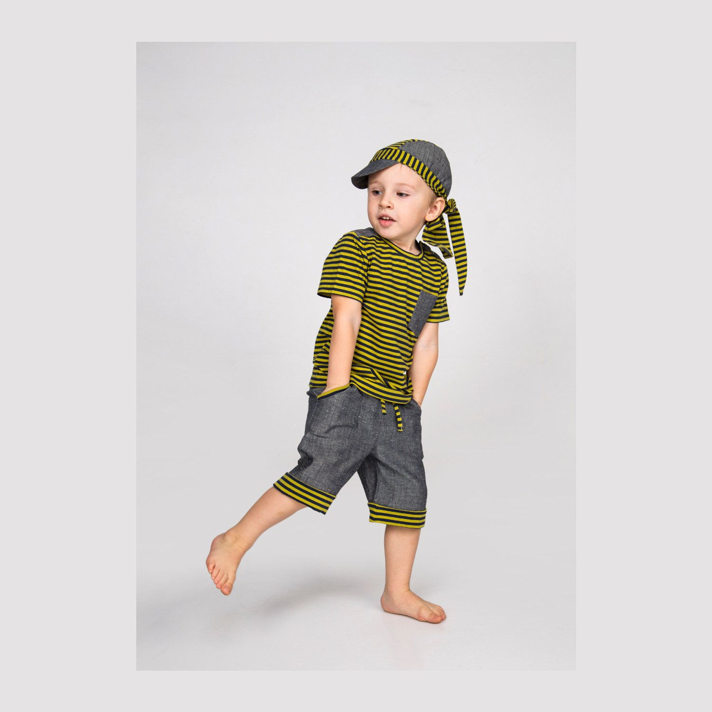 Boys summer set striped light green blue, boys T-shirt, boys jeans shorts, summer shorts denim, boys summer hat,  boys bandana head wrap by EcoEmi on Etsy https://www.etsy.com/listing/291833145/boys-summer-set-striped-light-green-blue