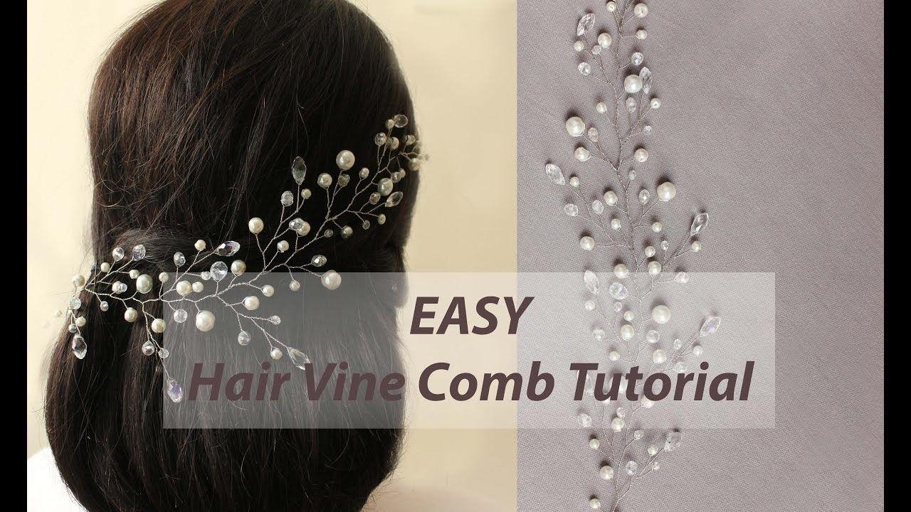 easy diy bridal hair vine, hair comb headband tutorial with