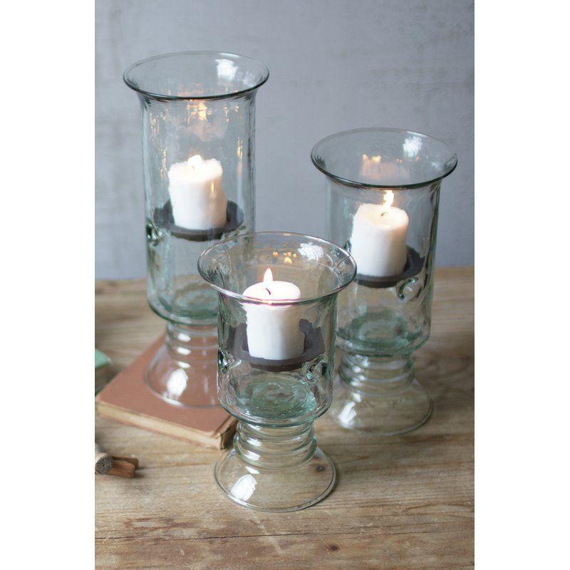 3 Piece Glass And Metal Votive Holder Set Sea Glass Candle Holder Candle Holders Wedding Centerpieces Votive Holder