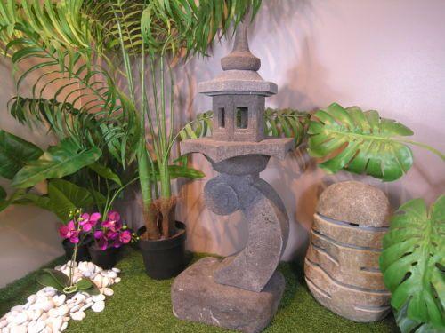 Lanterne japonaise en pierre de lave 85cm lampe jardin terrasse ...