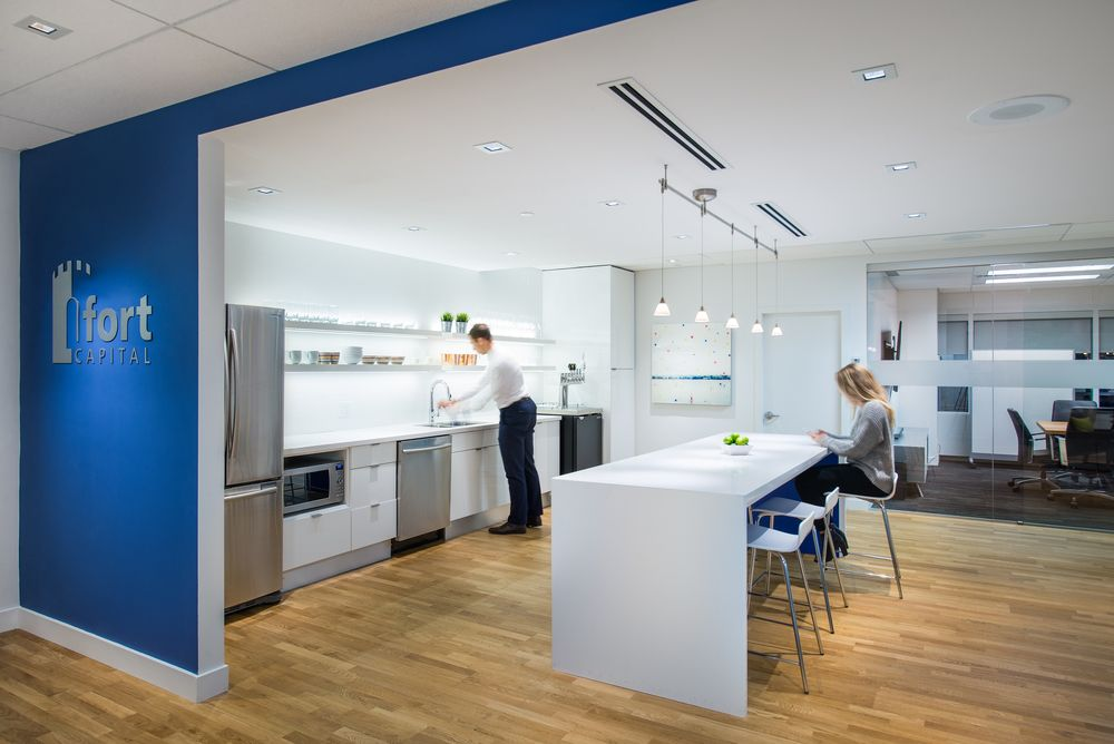Staff kitchen at Fort Capital office interior design by SSDG
