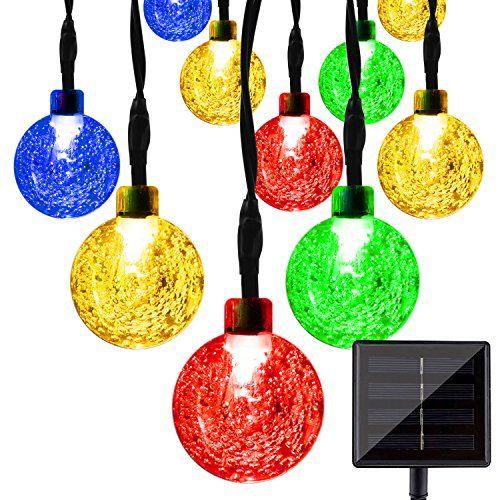 LightsEtc 157ft 20LED Solar String Lights Multi Color Crystal Ball