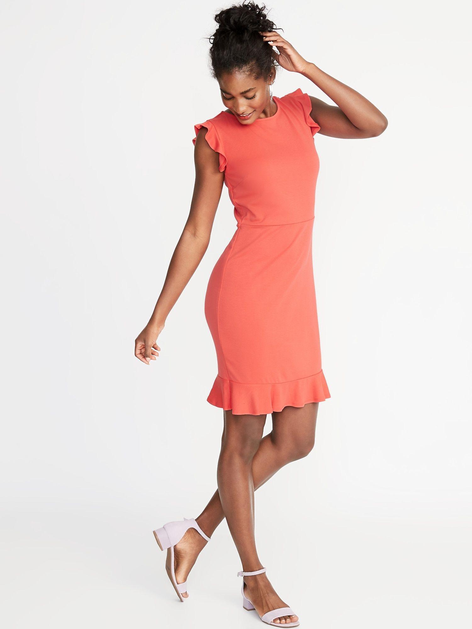 dd5aa46a0be1 Ruffled Ponte-Knit Sheath Dress for Women in 2019