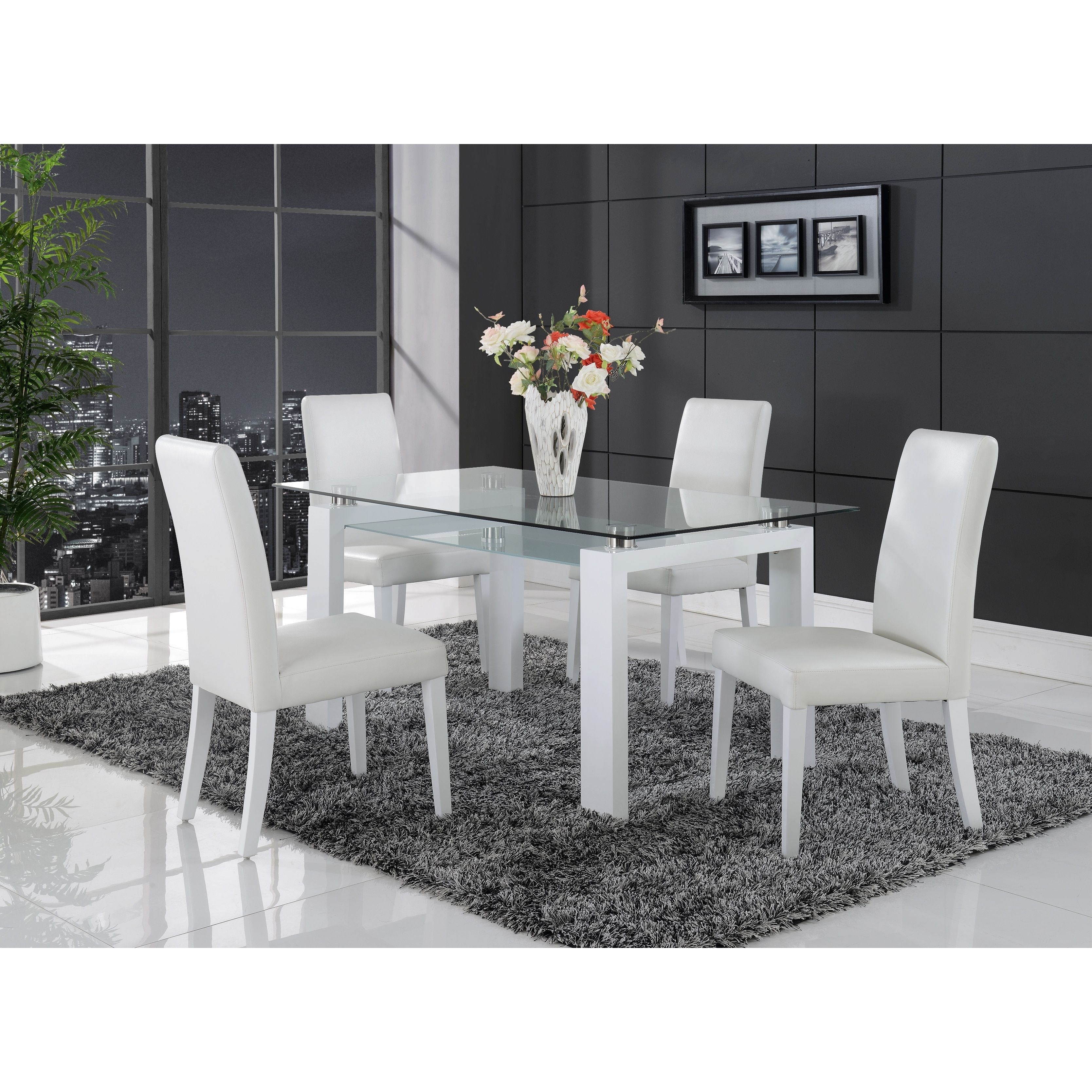 White Solid Wood Glass Top Dining Table Furniture Dining Table
