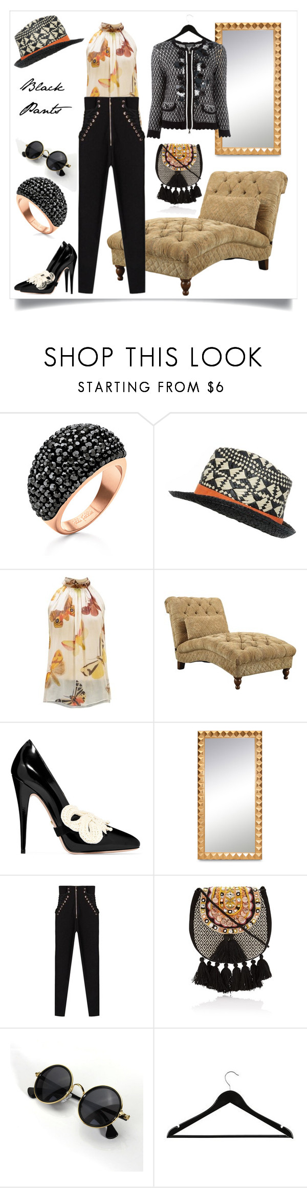 """""""#blackpants"""" by delaro ❤ liked on Polyvore featuring Folli Follie, Alexander McQueen, Coaster, Gucci, Elwood and Twin-Set"""