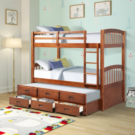 Stable Twin Bunk Beds Upgrade Solid Wood Twin Over Twin Bunk Beds Twin Bunk Bed With 3 Storage Drawers Twin Bunk Beds For Kids Bunkbeds With Ladder And Safe Wood Bunk Solid wood bunk beds twin over twin