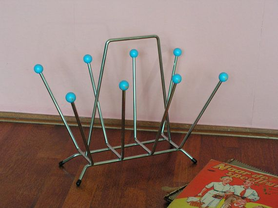 Mid Century Modern Magazine Wire Rack Atomic Era, Sputnik, Blue - Storage 1950s 1960s on Etsy, $55.46