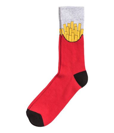c89e4feed243e Jacquard-knit Socks | Red/French fries | Men | H&M US | New Jersey ...