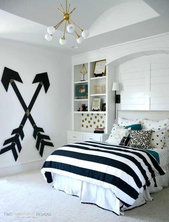 DIY Modern Teen Girl Bedroom with Wooden Wall Arrows. Pick one cute bedroom style for & 33 Cheap vintage cute bedroom DIY ideas for teen girls | Pinterest ...