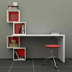 Decortie balanced desk bookcase various colours for Diy study table design