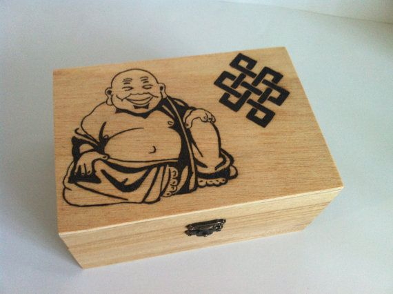 Wooden box woodburning Buda with message