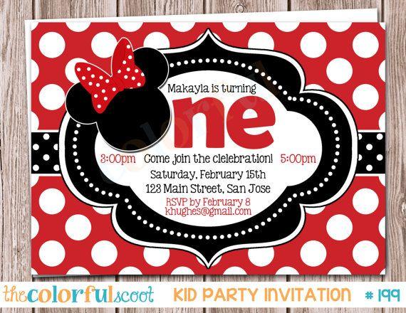 Minnie Mouse Birthday Invitation, Birthday Invite, Birthday Invitation, Minnie, Red (#199) on Etsy, $13.00