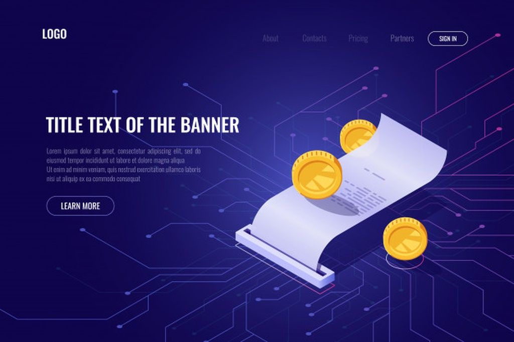 Cryptocurrency mining and payment concept, ico isometric banner, web page of blockchain technology #paid, , #AD, #Affiliate, #concept, #Cryptocurrency, #mining, #ico