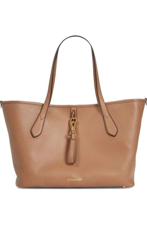 NWT   AUTHENTIC Burberry Derby Leather Medium Honeybrook Tote Dark Sand   1395 66f9c1aa813d9