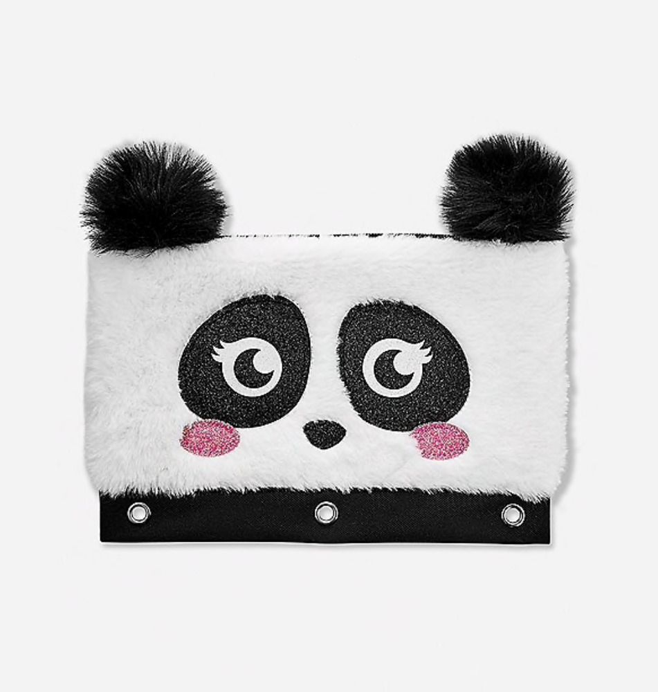 Justice Girl's PANDA Fuzzy Faux Fur Pencil Case New With