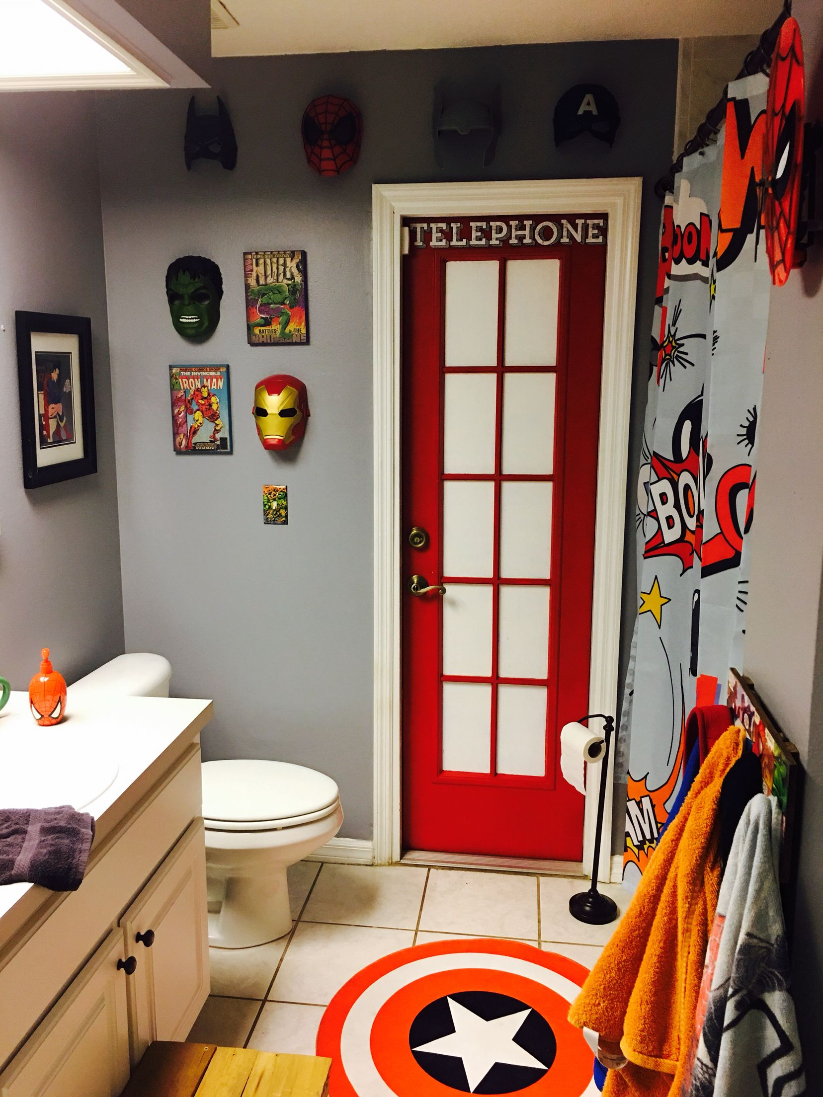 Superman S Phone Booth For A Superhero Bathroom Kids Bathroom Design Boys Bathroom Decor Boys Bathroom Themes