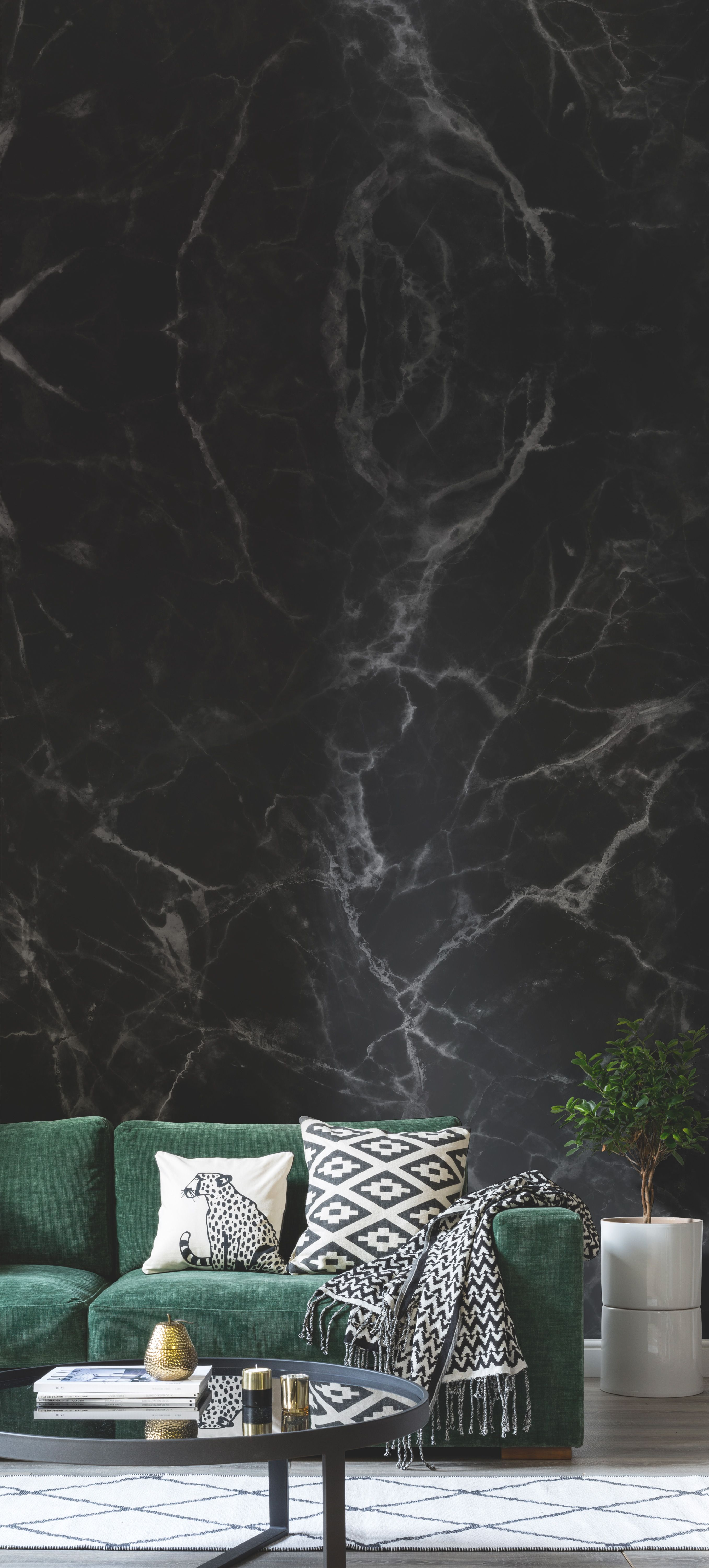 Add A Slice Of Luxe Into Your Home With This Faux Black Marble Wallpaper  Mural. Itu0027s The Perfect Living Room Idea For Those Looking For A Sense Of  ...