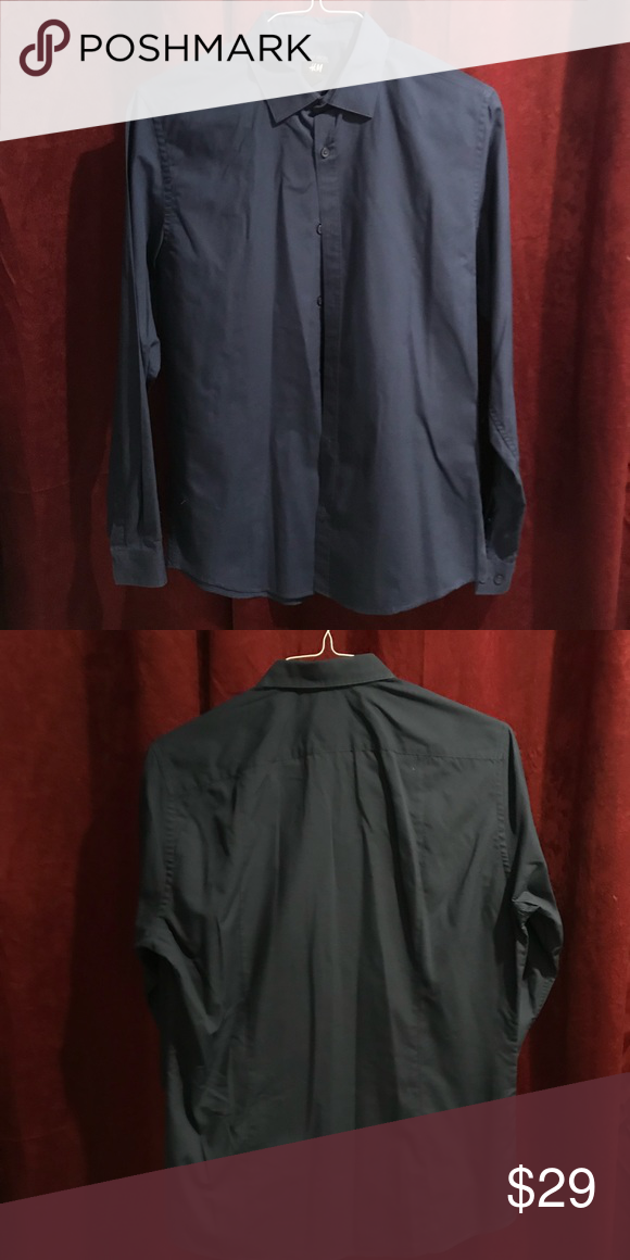 Hm Long Sleeve Button Down Shirt Navy Blue Medium My Posh Picks