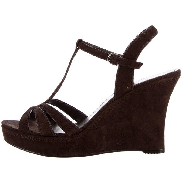 d069ef121b2 Pre-owned Coach Gabby Platform Wedge Sandals ( 75) ❤ liked on Polyvore  featuring
