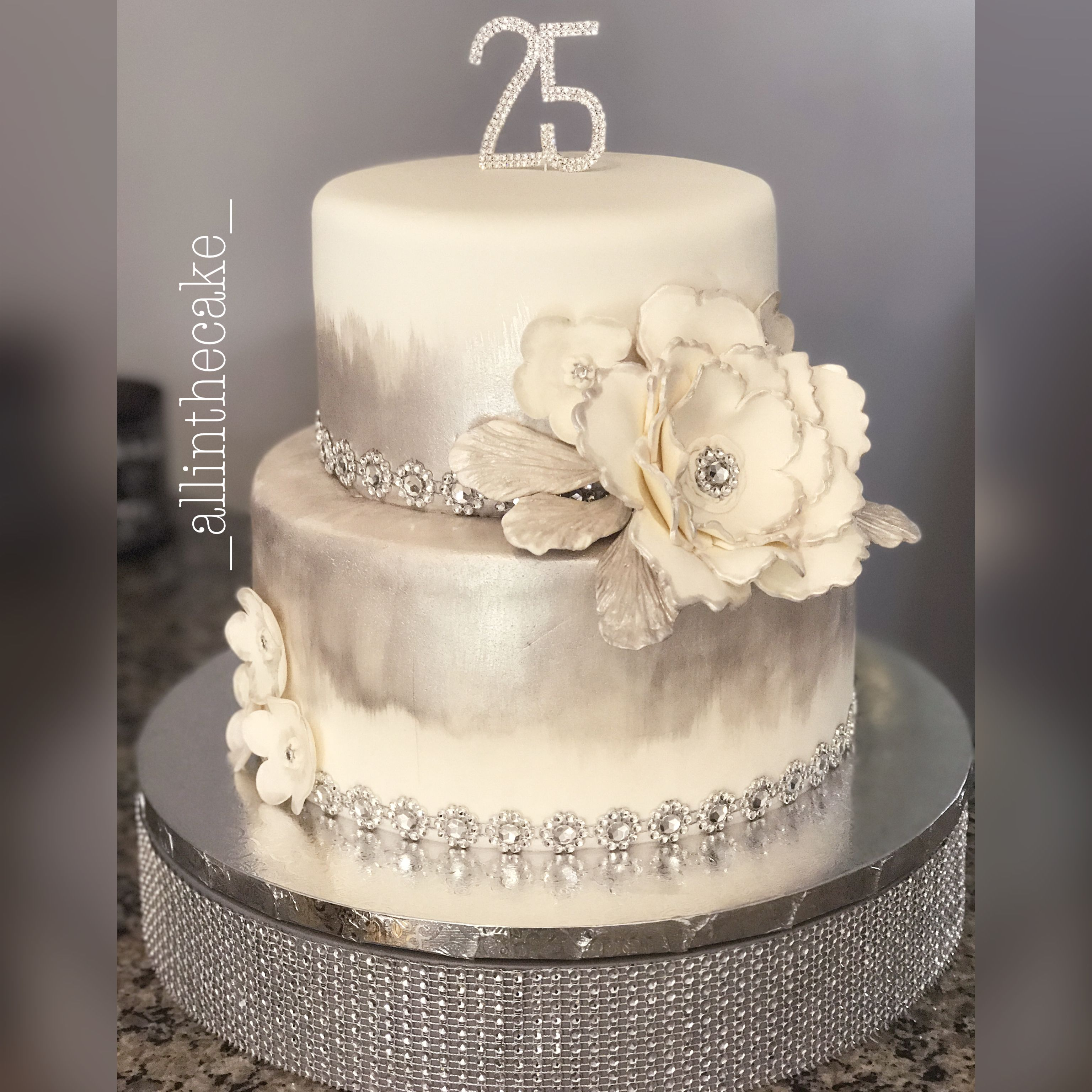 25th Silver Wedding Anniversary cake | All in the cake | Pinterest ...
