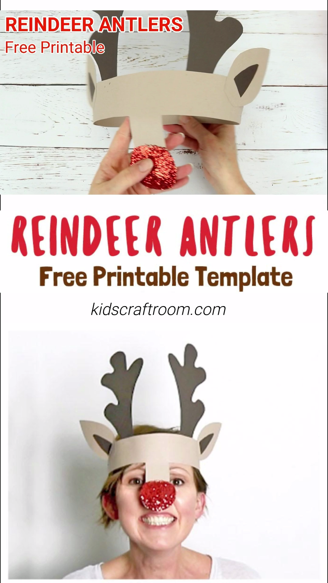 PRINTABLE REINDEER ANTLERS HAT - Make your own cute Reindeer Antlers headband. This kids Christmas craft is so fun! Print the free template onto plain card to paint or trace it straight onto coloured card. An easy and adorable kids craft for the Christmas holidays.  #kidscraftroom #christmascrafts #reindeercrafts #reindeer #rudolf #christmasforkids #christmashats #reindeerhat #antlers #rudolfcrafts #christmascraftsforkids  #printablecrafts #christmasideas #freeprintables #printables