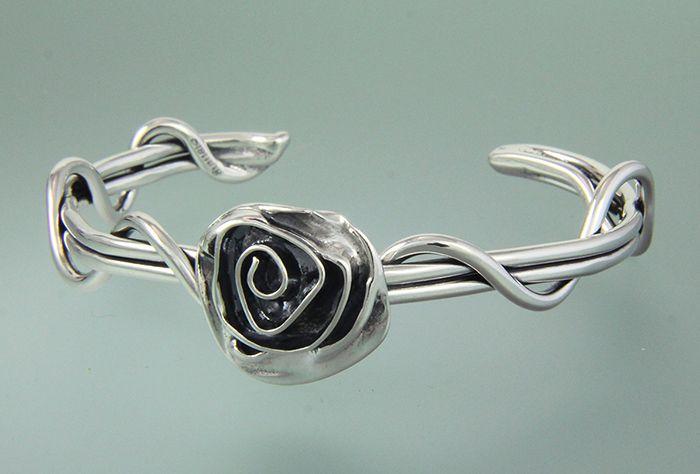 "4st 5 - Sterling Silver Medium Gauge Wrap Vine Cuff with 1"" Rose."