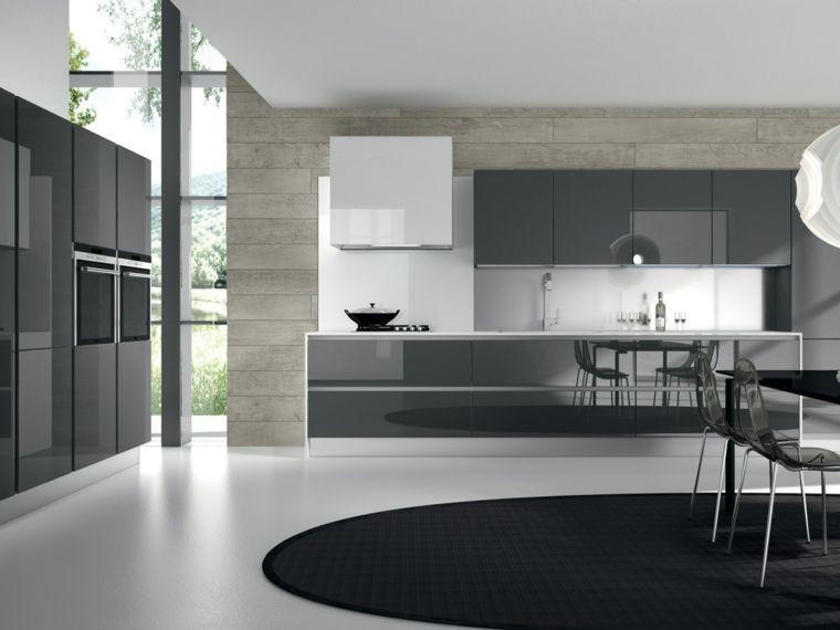 cocinas blancas y grises de diseño moderno | Decoracion de cocinas ...