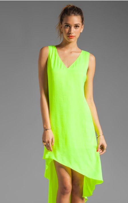 Lime green dress | Neon prom dresses, Dresses, Tank dress