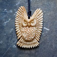 New Buffalo Bone Carved OWL NECKLACE Animal Pendant Cow Skull Unique Jewelry