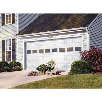 Clopay Premium Series 9 Ft X 7 Ft 6 5 R Value Insulated White Garage Door With Plain Windows 2050 The Home Depot Garage Doors White Garage Doors R Value