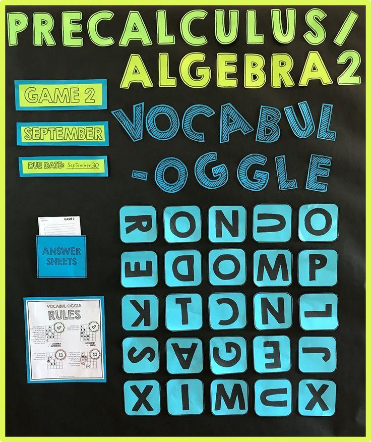 Algebra 2 / PreCalculus Vocabulary Game with Bulletin Board Option ...