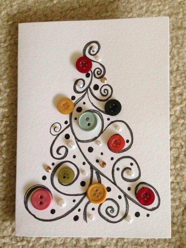 Idée bricolage Noël avec des boutons : tutoriels et photos | Carte