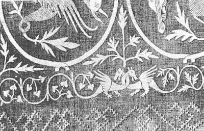 Detail of linen embroidery, 14th c.,  Basle Historical Museum (1883/100)