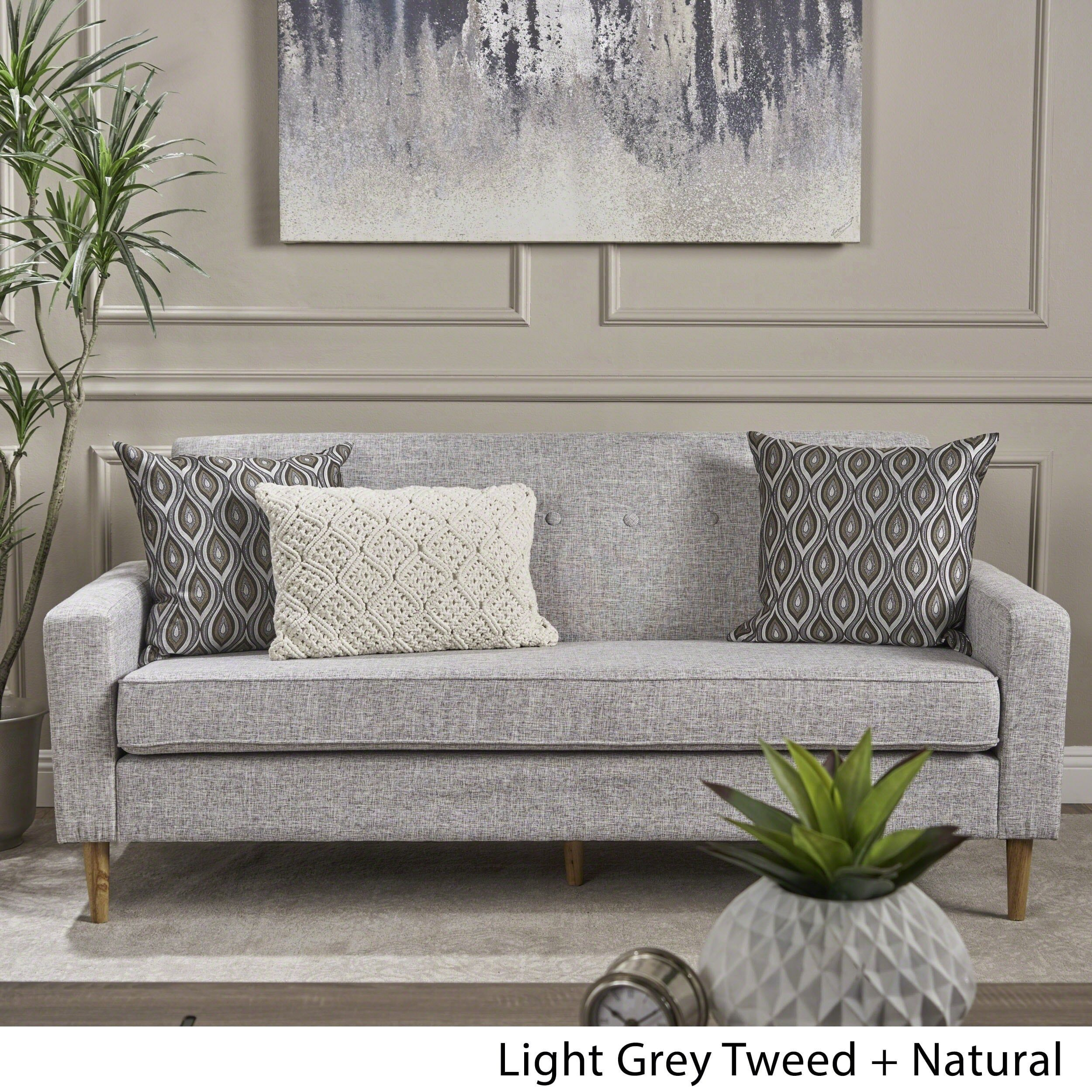 Sawyer Mid Century Modern 3 Seater Fabric Sofa By Christopher Knight Home Light Grey Tweed Polyester