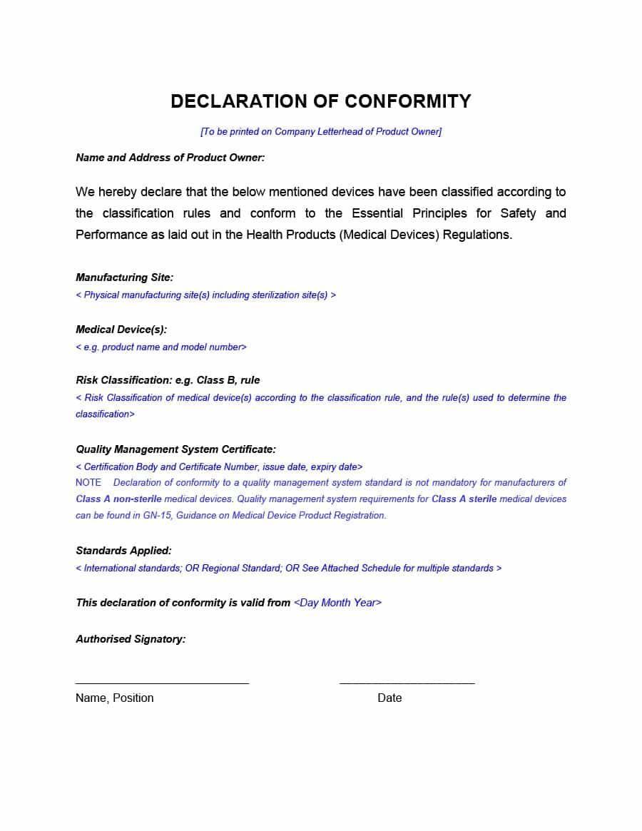 Certificate of conformance template pdf