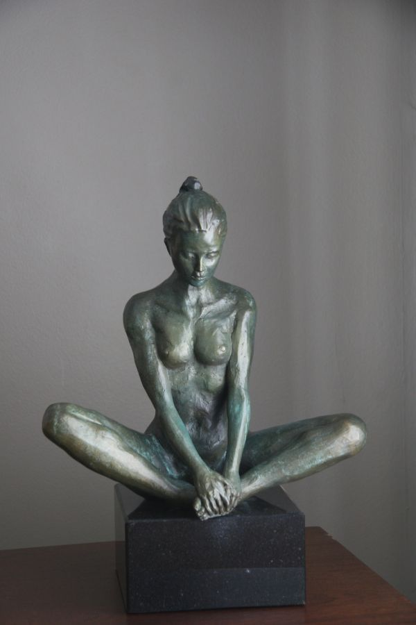 #Bronze #sculpture by #sculptor Heidi Hadaway titled: 'Meditation (Naked  Squatting Seated nude sculpture)'. #HeidiHadaway