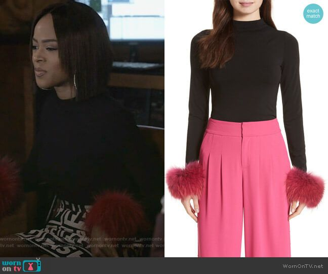 Tops With Fur Cuffs: Tiana's Black Fur Cuff Top And Print Skirt On Empire