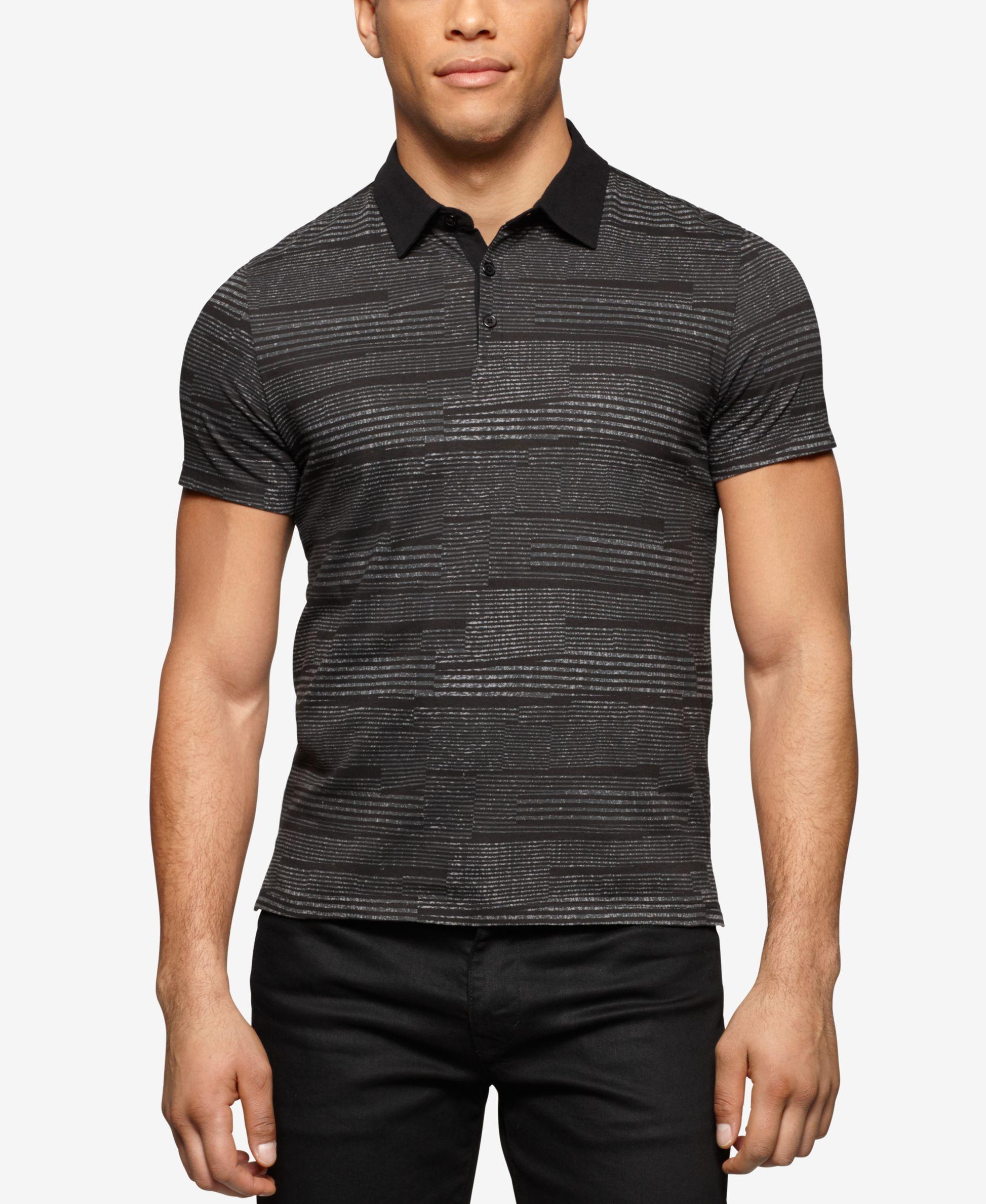 Calvin Klein Men s Slim Fit Printed Jersey Liquid Cotton Polo Shirt ... d254cbc15d5d2