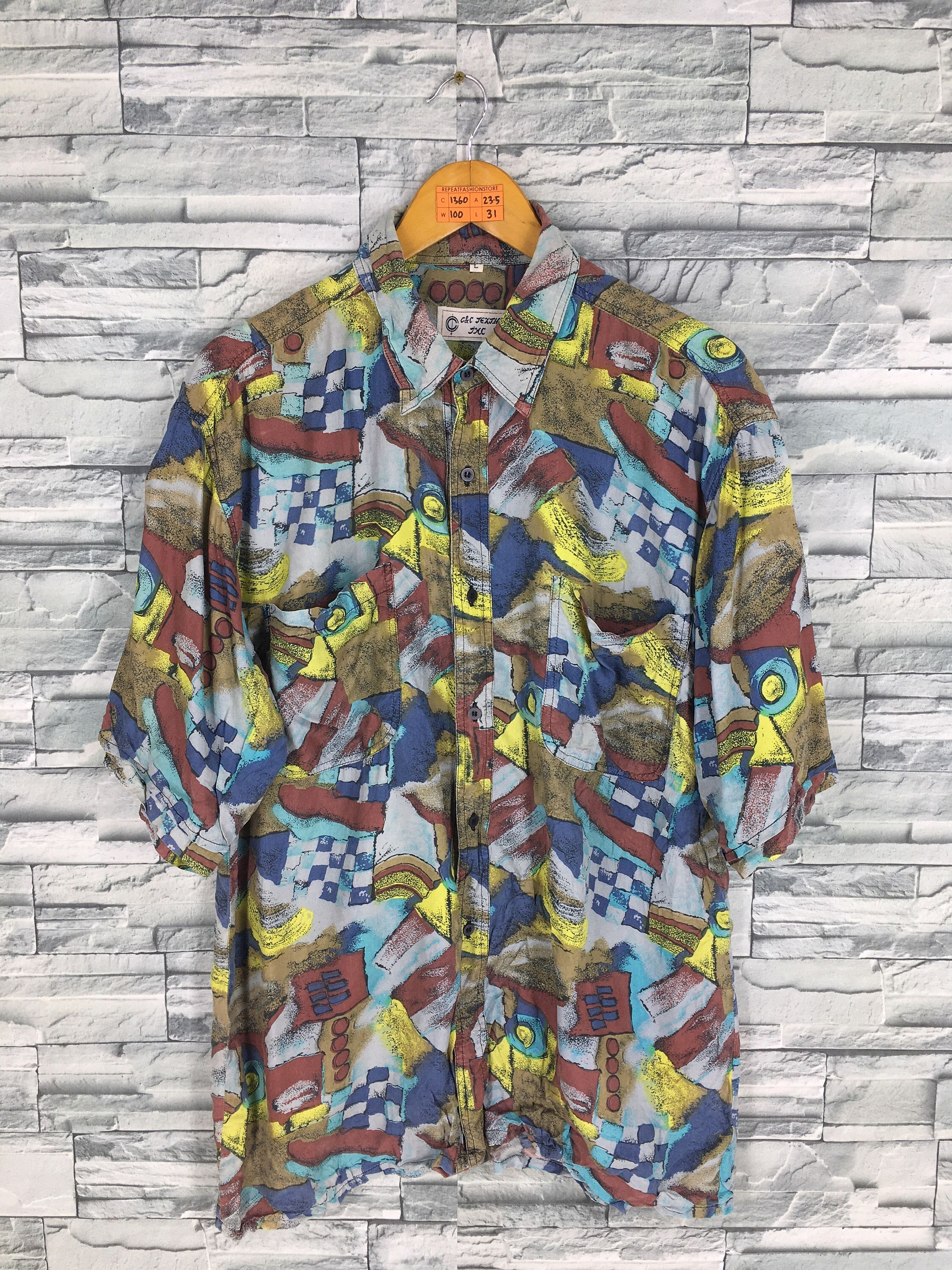 Vintage Multicolor Abstract Buttondown Shirt Large Pop Art Style Casual Outfit Psychedelic Designer 90/'s Baroque Shirt Size L