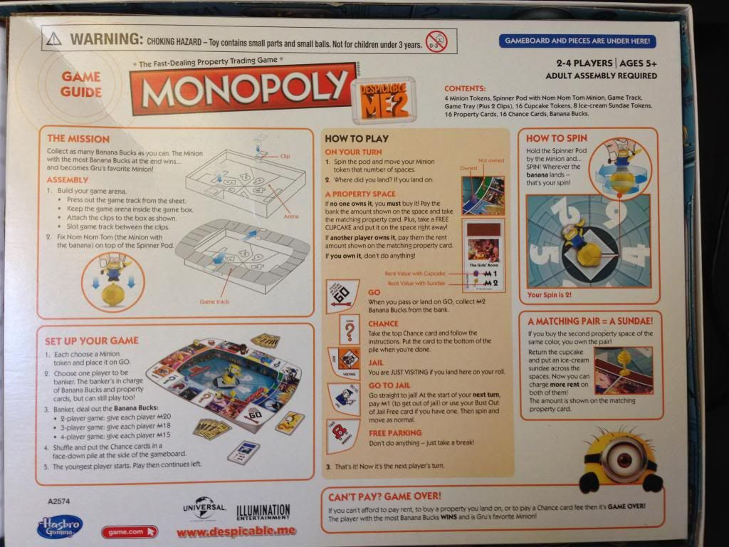 monopoly operation despicable me 2 games review bethany rh pinterest com monopoly board game instruction manual sentence Monopoly Board Game PowerPoint