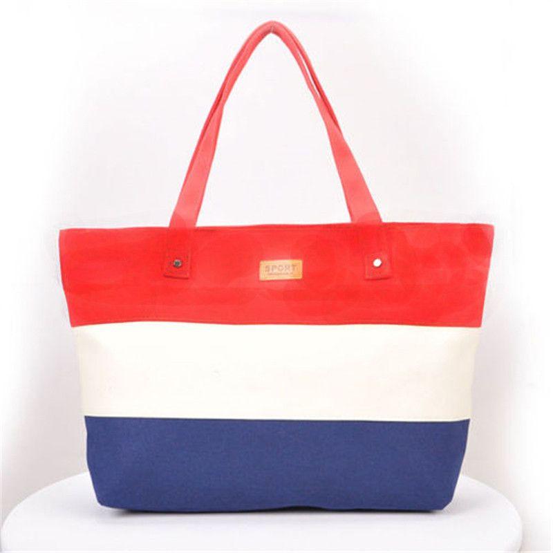 $6.99 (Buy here: http://appdeal.ru/5ewx ) 2016 New Hot Messenger Bag Beach Handbag Bags Brand Totes Women Ladies Stripes Canvas Shoulder Bag Free Shipping N508 for just $6.99